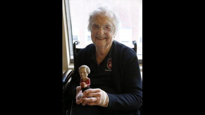 Sister Jean with her bobblehead