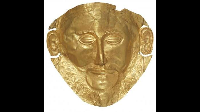 """""""Mask of Agamemnon"""" (Replica)--When unearthed in the late-‐19th century, archaeologists believed this to be the death mask of Agamemnon, the mythical king of Mycenae. (Archaeological Museum of Mycenae)"""