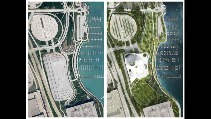 A before and after comparison of the current lakefront site vs. the proposed Lucas Museum. (Courtesy of Lucas Museum of Narrative Art)