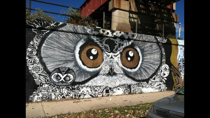 """Brooks Blair Golden, """"Owl,"""" part of the Art in Public Places project, acrylic and spray paint on concrete, 2012. (Lisa Roberts)"""