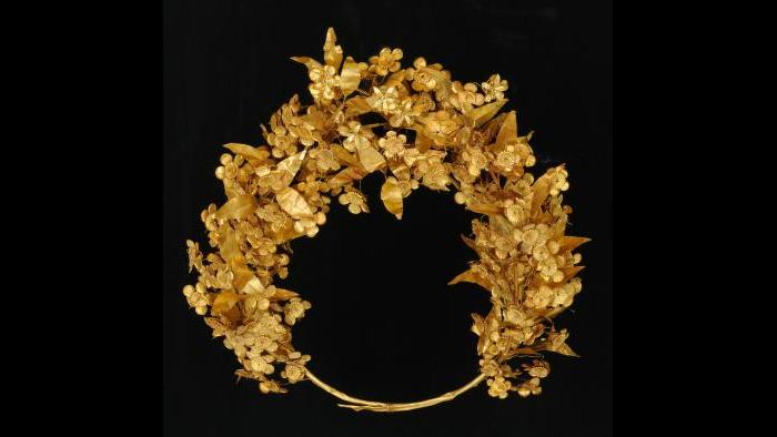 Gold Myrtle Crown--With hundreds of leaves and blossoms, this wreath worn by Queen Meda is one of the most remarkable gold objects of the ancient world. (Museum of the Royal Tombs of Aigai, Vergina)