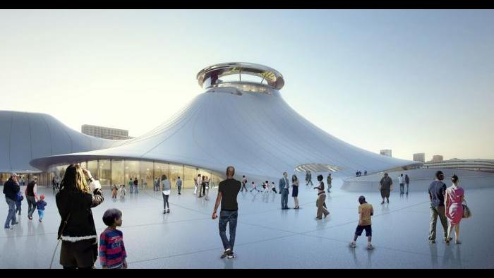 Rendering of the Lucas Museum's public plaza. (Courtesy of Lucas Museum of Narrative Art)