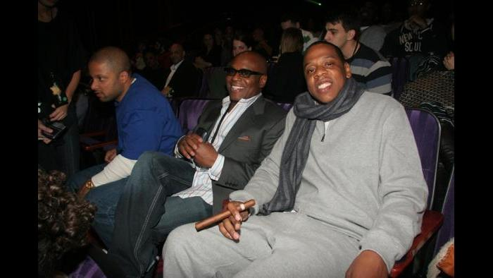 With Jay Brown and Jay Z at a listening event. (Courtesy L.A. Reid)