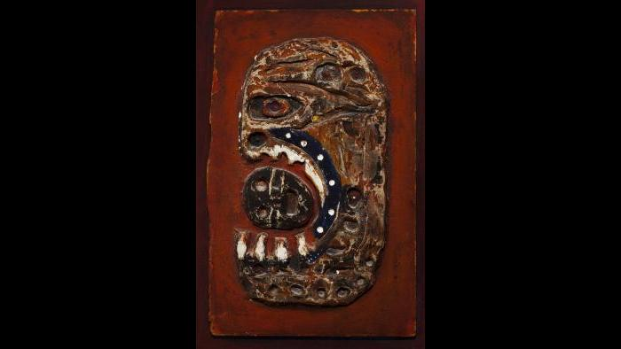 Dominick Di Meo, Fallen Hero, c. 1956, Paint on plaster and Masonite on wood panel.  Private Collection