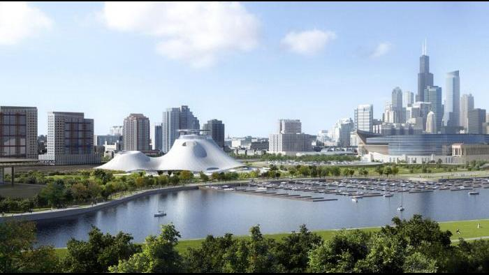 Lucas Museum site with Chicago cityscape from the south east. (Courtesy of Lucas Museum of Narrative Art)