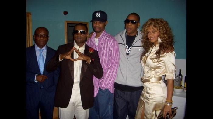 At a Kanye performance in London with Kanye, Gee Roberson, Jay Z and Beyonce. (Courtesy L.A. Reid)