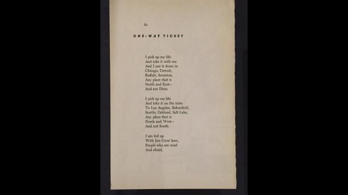 """The opening stanzas of Langston Hughes poem """"One-Way Ticket."""""""