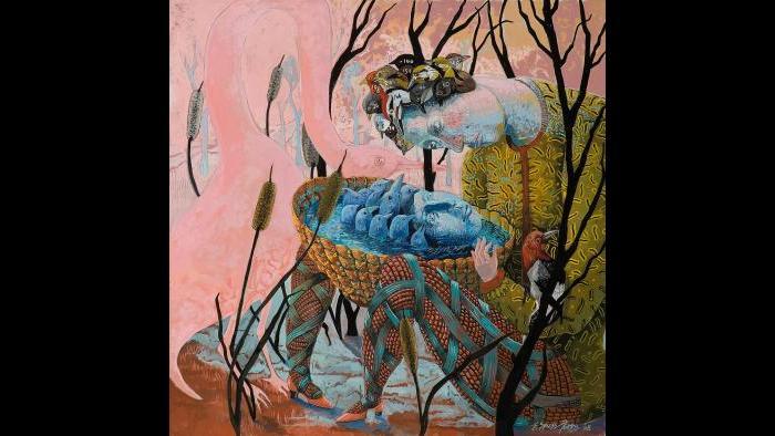 "Eleanor Spiess-Ferris, ""Pond Reflection,"" gouache, 2008."