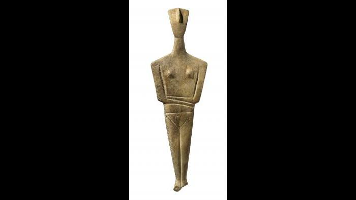 Cycladic Figurine--Cycladic figurines, often found in burials, are among the most iconic artifacts of ancient Greek archaeology. (National Archaeological Museum, Athens)