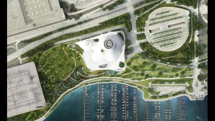 An aerial view of the Lucas Museum site plan. (Courtesy of Lucas Museum of Narrative Art)