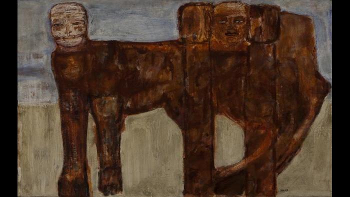 Leon Golub, The Ischian Sphinx, 1956, Oil and lacquer on canvas.  Private Collection