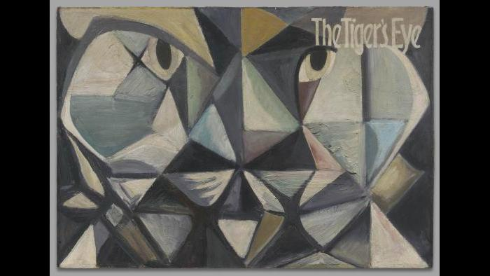 John Stephan, Painting for cover of The Tiger's Eye, issues #5-8, c. 1948, oil on canvas. Yale University Art Gallery, courtesy of John J. Stephan.