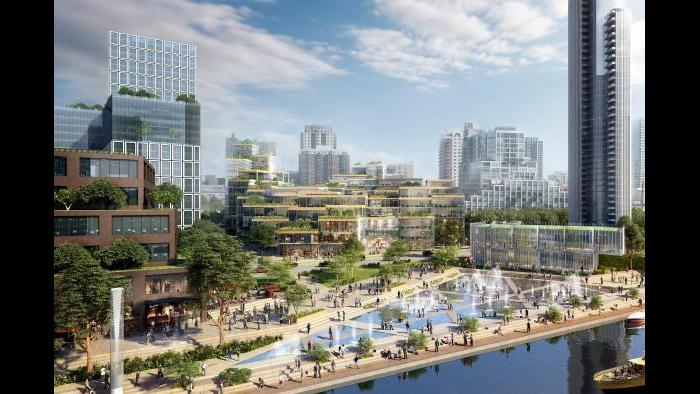 78 education hub and riverwalk concept (Rendering by ICON, master plan architect SOM, contributions by architect 3XN)