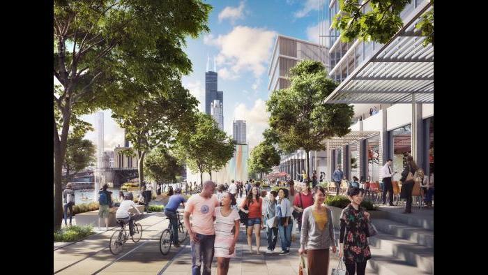 78 riverwalk concept, looking north (Rendering by DBOX, master plan architect SOM)