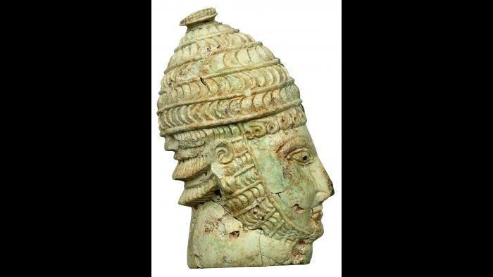 Inlay Depicting Mycenaean Warrior Wearing Boar-Tusk Helmet (National Archaeological Museum, Athens)