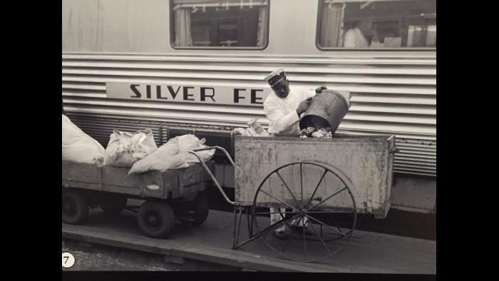 A trash collector for the Chicago, Burlington and Quincy Railroad, 1940s.