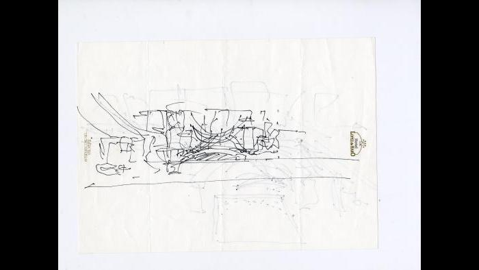 The first sketches for the Guggenheim were done on the stationery at the Hotel Lopez de Haro in Bilbao. (Gehry Partners LLC)