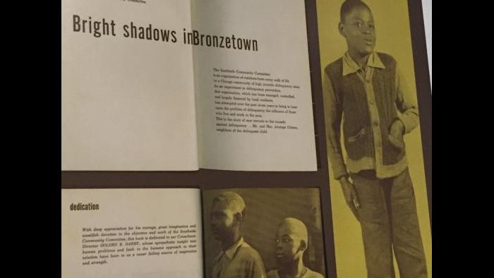 "A section of the book ""Bright Shadows in Bronzetown,"" published by the South Side Community Committee in 1949."