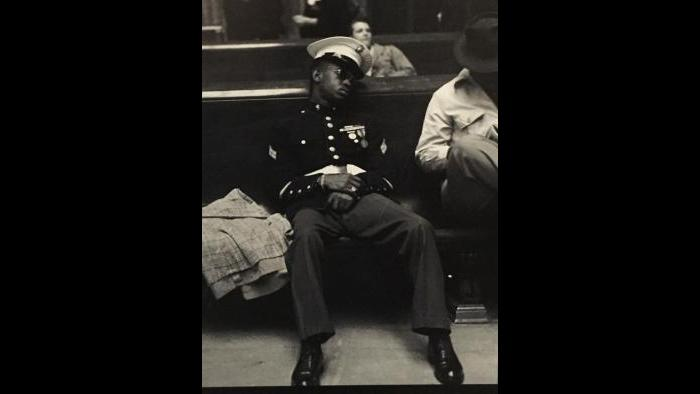 An African-American soldier during World War II at Chicago's Union Station.