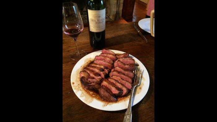 A pan-seared duck breast David cooked while living in Gascony. (Courtesy David McAninch)
