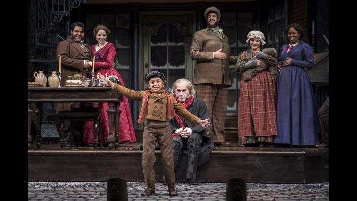 "Paris Strickland, 10, plays Tiny Tim in ""A Christmas Carol"" at the Goodman Theatre. (Photo: Liz Lauren)"