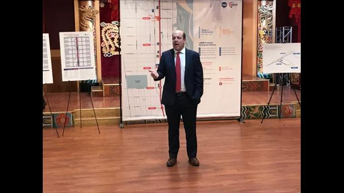 Ald. Harry Osterman, 48th Ward, speaks at a community meeting Tuesday, Jan. 28, 2020. (Nick Blumberg / WTTW News)