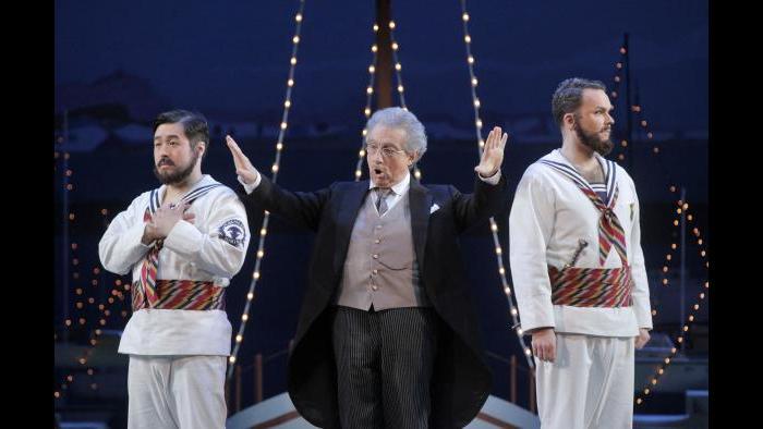 """Andrew Stenson, Alessandro Corbelli and Joshua Hopkins in """"Cosi fan tutte."""" (Credit: Cory Weaver)"""