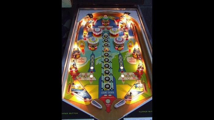 Illuminated playfield of Apollo machine, 1967. (Maurizio Lannuzzelli)