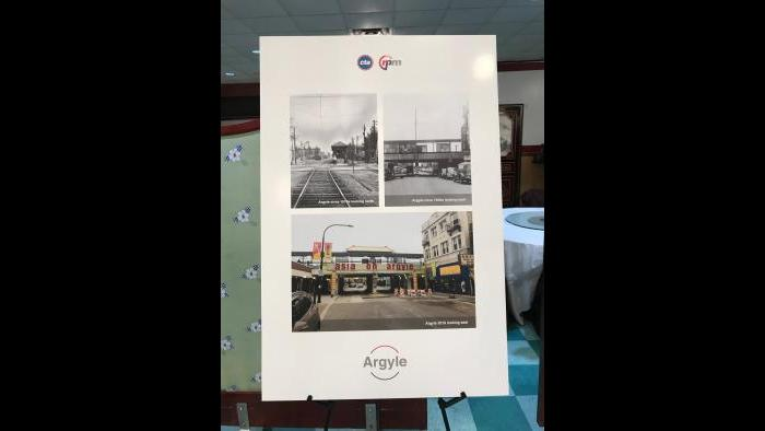 CTA historical photos show now-and-then versions of the Argyle stop. (Nick Blumberg / WTTW News)