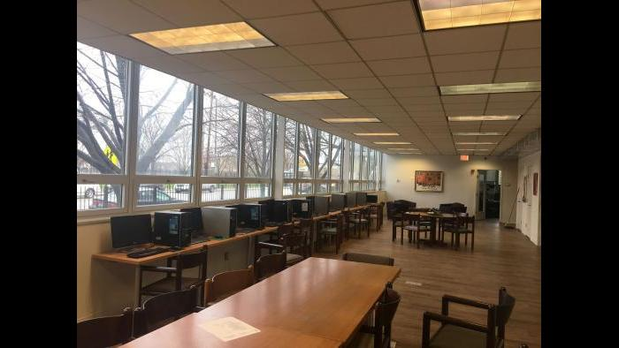 The computer lab offers participants a space to do homework, browse job listings and college applications, and to play games. (Maya Miller / Chicago Tonight)