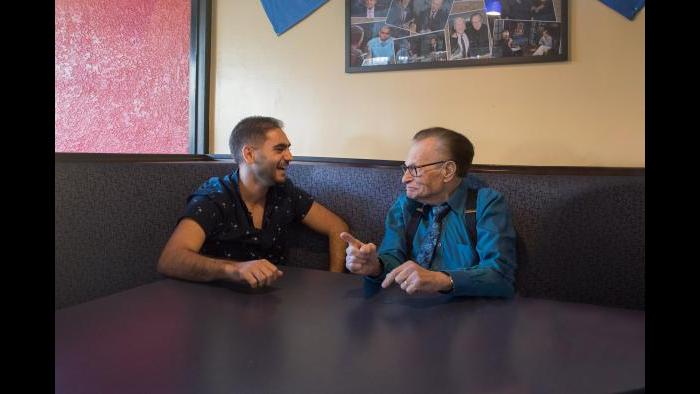 Interviewing Larry King (Courtesy Alex Banayan)