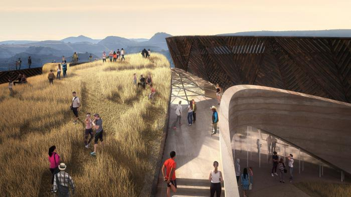 Basecamp roofscape, proposed design for Teddy Roosevelt Presidential Library. (Studio Gang)