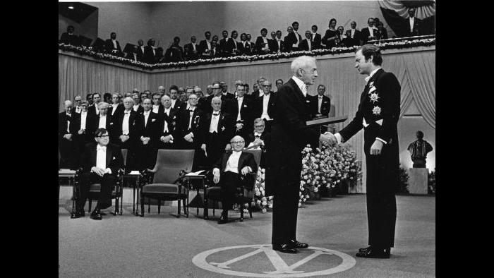 Bellow accepting Nobel Prize (Courtesy of the Special Collections Research Center, University of Chicago Library)