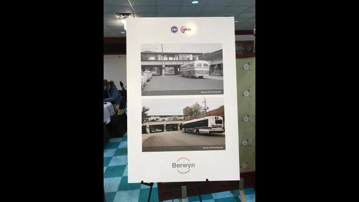 CTA historical photos show now-and-then versions of the Berwyn stop. (Nick Blumberg / WTTW News)