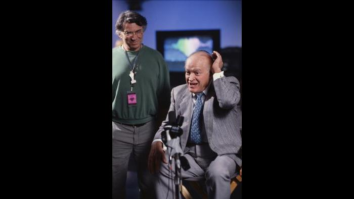 Bill Graham and Bob Hope make a radio appeal during the earthquake rock-a-thon in 1989. (Courtesy of Ken Friedman)