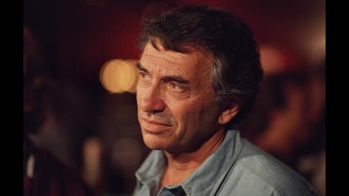 """Bill Graham between takes during the filming of """"A '60s Reunion with Bill Graham: A Night at the Fillmore,"""" 1986. (Courtesy of Ken Friedman)"""