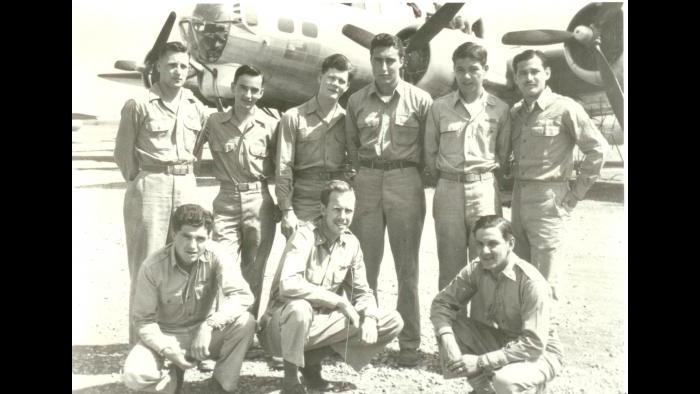 Norman Lear, top right, and bomb crew (Courtesy of Norman Lear)