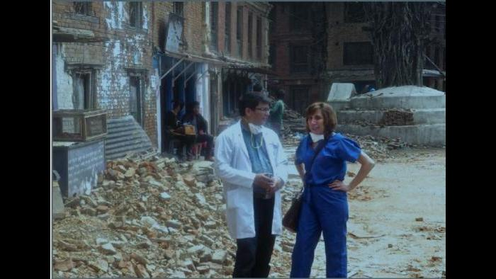 Dr. Saju Pradhan (right) of Nepal Orthopedic Hospital and Dr. Victoria Brander, co-founder and director of Operation Walk Chicago in Sankuu, Nepal during the 2015 earthquakes (Dr. Victoria Brander / Operation Walk Chicago)