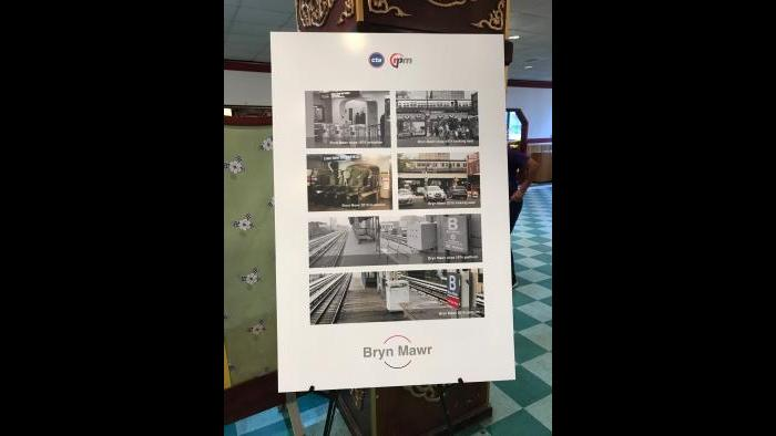 CTA historical photos show now-and-then versions of the Bryn Mawr stop. (Nick Blumberg / WTTW News)