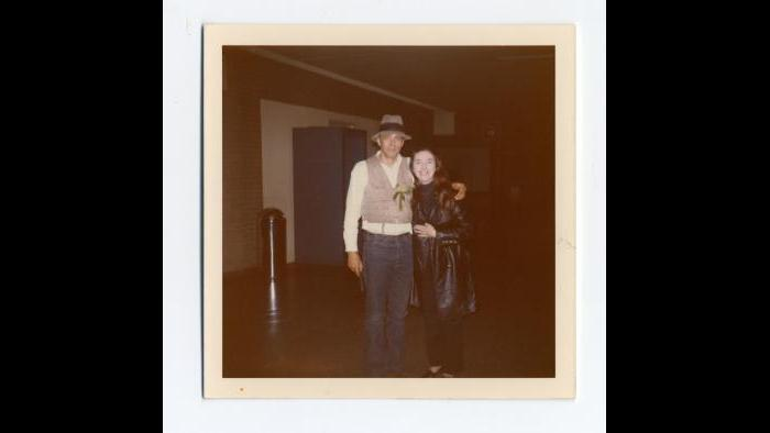 Charlotte Moorman and Joseph Beuys at John F. Kennedy International Airport, New York, after his performance of I Like America and America Likes Me, May 1974. Photograph by Francesco Conz. Courtesy of Charlotte Moorman Archive, Charles Deering McCormick Library of Special Collections, Northwestern University Library.