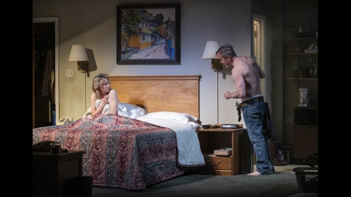 """Carrie Coon and Steve Key in Steppenwolf's production of """"Bug"""" by ensemble member Tracy Letts. (Photo by Michael Brosilow)"""