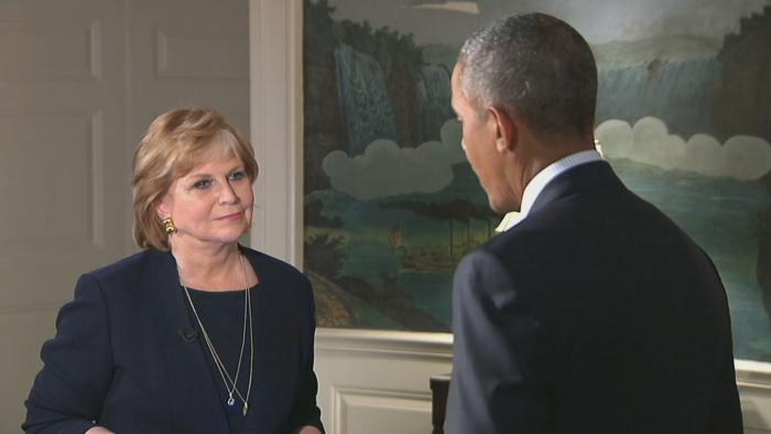 Carol Marin interviews President Barack Obama at the White House on Thursday. (Courtesy of NBC)