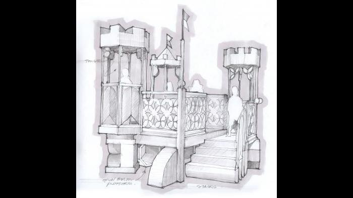"""Sketches of a structure that was later built for the """"Once Upon a Castle"""" exhibit. (Courtesy of Luci Creative)"""