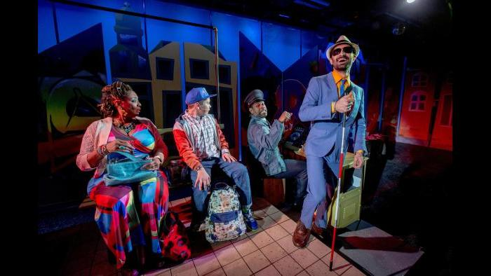 "From left: E. Faye Butler, Alejandro Medina, Breon Arzell and Jesse Bhamrah in Chicago Children's Theatre's world premiere of ""Last Stop on Market Street."" (Photo credit: Charles Osgood)"
