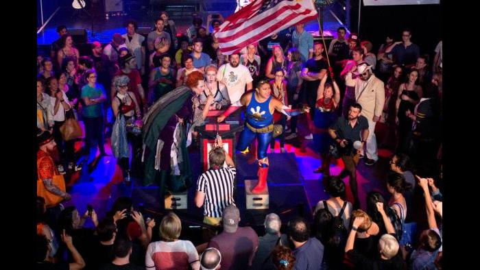 Chicago League of Lady Arms Wrestlers' CLLAW XXVII match at Logan Square Auditorium. (Credit: Trainman Photography)