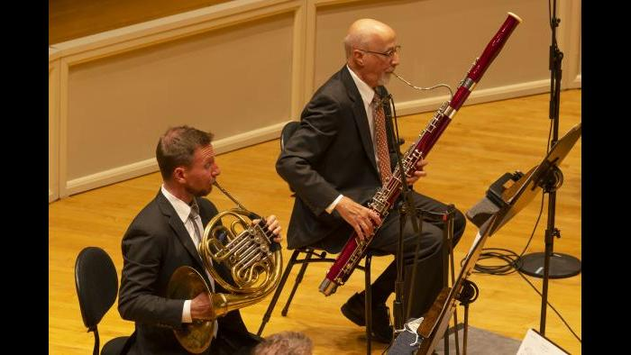 From left: CSO Principal Horn David Cooper and CSO Bassoon Dennis Michel. (Credit: Todd Rosenberg Photography)