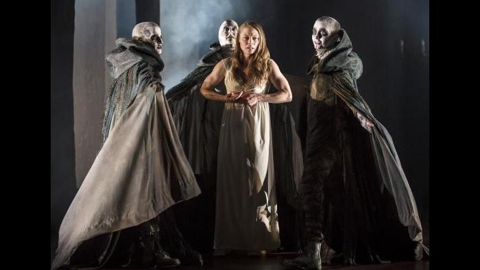 "Lady Macbeth (Chaon Cross) is taunted by the unseen Weird Sisters in Chicago Shakespeare Theater's production of ""Macbeth."" (Photo by Liz Lauren)"