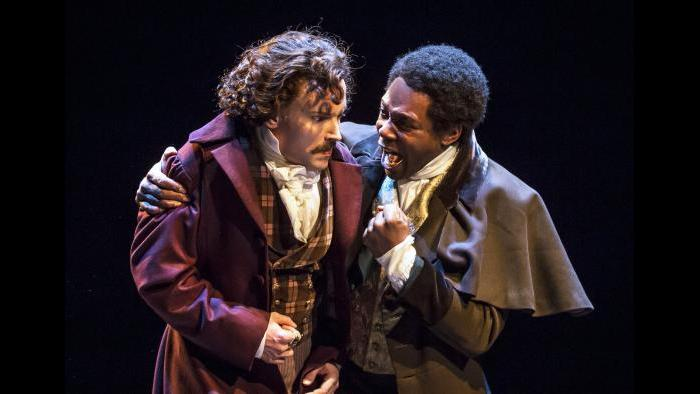 "Actors Dion Johnstone (Ira Aldridge, right) and Pierre LaPorte (Greg Matthew Anderson) in Chicago Shakespeare Theater's production of ""Red Velvet."" (Photo by Liz Lauren)"