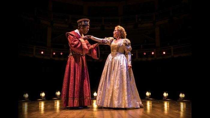 "Actors Dion Johnstone (Ira Aldridge) and Chaon Cross (Desdemona) in Chicago Shakespeare Theater's production of ""Red Velvet."" (Photo by Liz Lauren)"