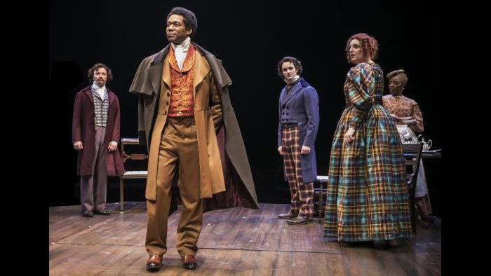 "Dion Johnstone, center, portrays Ira Aldridge in Chicago Shakespeare Theater's production of ""Red Velvet."" (Photo by Liz Lauren)"